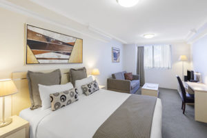 Oaks on Castlereagh Studio City Bedroom 600x400px
